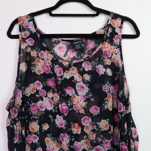 TORRID High-low Sheer Loose Floral Tank Top